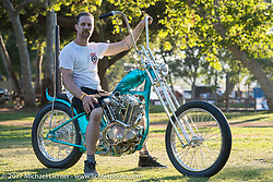 Martin Carlgren of Ringo Chop Shop in Gothenburg, Sweden with his 1947 SRM (Swedish Racing Motor) 1,000 cc chopper with a completely hand-fabricated engine based on an old Husqvarna Motorcycle design that he built as an invited builder to Born Free 9 doing the final assembly in Jeff Leighton and Dave Polgreen's The Wretched Hive Santa Ana, CA shop just before the start of the show. Born Free 9 Motorcycle Show at Oak Creek Park. Silverado, CA. USA. Sunday June 25, 2017. Photography ©2017 Michael Lichter.