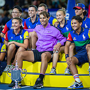 2019 US Open Tennis Tournament- Day Fourteen.  Winner Rafael Nadal of Spain with the winners trophy and ball boys and girls after his win against Danill Medvedev of Russia in the Men's Singles Final on Arthur Ashe Stadium during the 2019 US Open Tennis Tournament at the USTA Billie Jean King National Tennis Center on September 8th, 2019 in Flushing, Queens, New York City.  (Photo by Tim Clayton/Corbis via Getty Images)