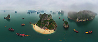 Aerial view of group of boats at Halong Bay during foggy day, Vietnam