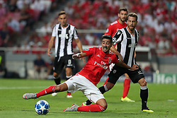 August 21, 2018 - Lisbon, Portugal - Benfica's Portuguese defender Andre Almeida (L ) vies with PAOK's midfielder Jose Canas from Spain during the UEFA Champions League play-off first leg match SL Benfica vs PAOK FC at the Luz Stadium in Lisbon, Portugal on August 21, 2018. (Credit Image: © Pedro Fiuza via ZUMA Wire)