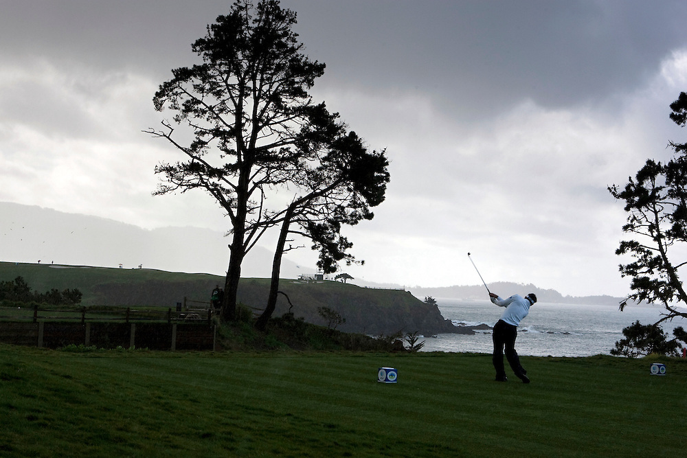 Mark Wilson teeing off on the fifth hole at Pebble Beach during the 2009 AT&T Pro Am