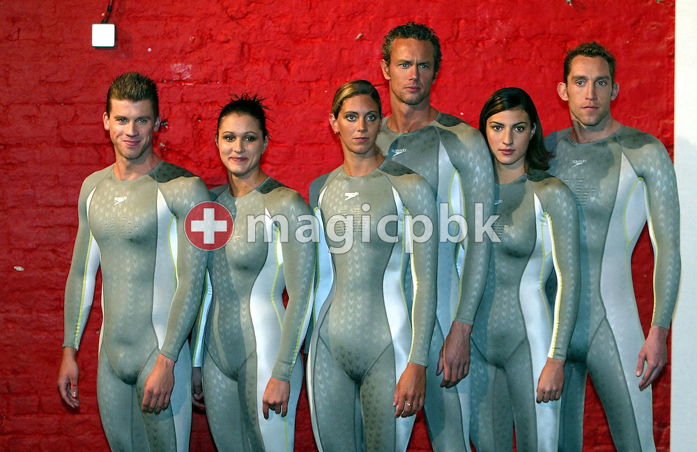 (L-R) Thomas Rupprath (GER), Hannah Stockbauer (GER), Katy Sexton (GBR), Mark Foster (GBR), Mirna JUKIC (AUT) and Stephen Parry (GBR) of Germany pose in the new Speedo FASTSKIN FSII (FS2) swim suit on Tuesday, March 9, 2004, at the launch party in London. (Photo by Patrick B. Kraemer/MAGICPBK)