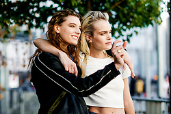 Street style, model Elise Agee (right) after Chloe spring summer 2019 ready-to-wear show, held at Maison de la Radio, in Paris, France, on September 27th, 2018. Photo by Marie-Paola Bertrand-Hillion/ABACAPRESS.COM