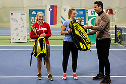 Second placed Tjasa Klevisar, winner Tina Cvetkovic and Gregor Krusic at trophy ceremony after final match during Slovenian National Tennis Championship 2019, on December 21, 2019 in Medvode, Slovenia. Photo by Vid Ponikvar/ Sportida