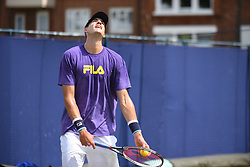 June 23, 2017 - London, United Kingdom - John Isner of the US practices at The Queen's Club, London on June 22, 2017. The players use the grass courts to train themselves before the start of Wimbledon Championships. (Credit Image: © Alberto Pezzali/NurPhoto via ZUMA Press)