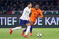 England midfielder Jesse Lingard battles with Netherlands Midfielder Georginio Wijnaldum (Liverpool) during the Friendly match between Netherlands and England at the Amsterdam Arena, Amsterdam, Netherlands on 23 March 2018. Picture by Phil Duncan.