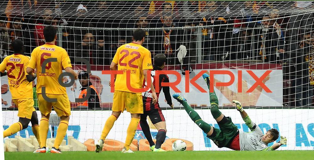 Gaziantepspor's Cenk TOSUN goal during their Turkish Superleague Galatasaray between Gaziantepspor at the TT arena in Istanbul Turkey on Wednesday 26 October 2011. Photo by TURKPIX