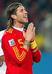 21-06-2010 VOETBAL: FIFA WORLDCUP 2010 SPANJE - HONDURAS: JOHANNESBURG <br /> Sergio Ramos of Spain<br /> ©2010-FRH- NPH/ Vid Ponikva (Netherlands only)
