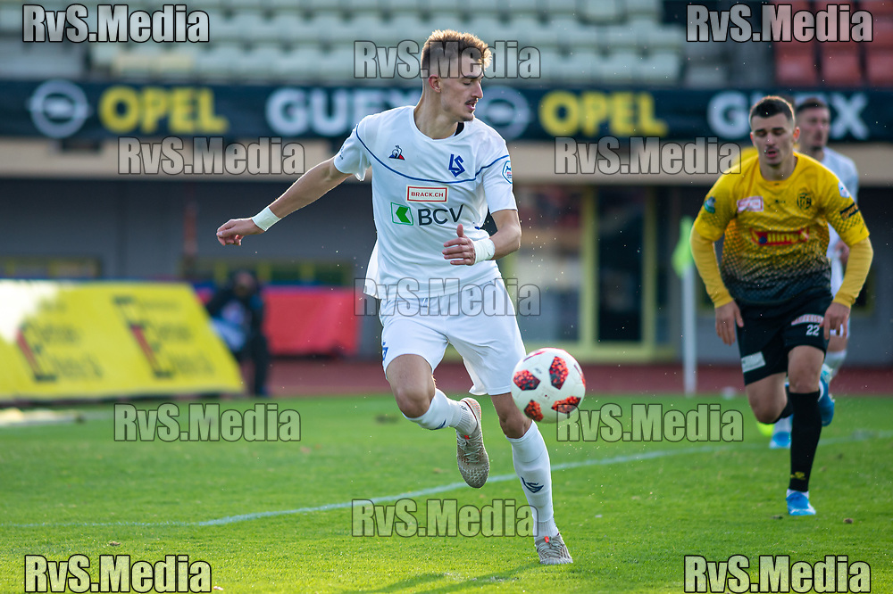 LAUSANNE, SWITZERLAND - NOVEMBER 10: #99 Aldin Turkes of FC Lausanne-Sport in action during the Challenge League game between FC Lausanne-Sport and FC Schaffhausen at Stade Olympique de la Pontaise on November 10, 2019 in Lausanne, Switzerland. (Photo by Monika Majer/RvS.Media)
