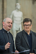 "Mark Wallinger with Canon Oakley - Kate Allen Director of Amnesty International UK, helped by Canon Mark Oakley (Chancellor of St Paul's Cathedral), installs Mark Wallinger's 'Ecce Homo' statue at St Paul's Cathedral. The life-size sculpture shows the figure of Jesus Christ and was the first artwork to be shown on Trafalgar Square's fourth plinth in 1999.Mark Wallinger, who won the Turner Prize in 2007, said: ""This vulnerable figure will stand at the top of the steps outside the entrance to St Paul's Cathedral as we approach Easter to highlight the plight of people around the world who are imprisoned and whose lives are threatened for speaking the truth, and for what they believe."""