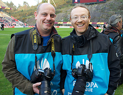 BRAGA, PORTUGAL, Thursday, March 10, 2011: Liverpool Daily Post & Echo photographer Colin Lane and Propaganda photographer David Rawcliffe before the UEFA Europa League Round of 16 1st leg match between Sporting Clube de Braga and Liverpool at the Estadio Municipal de Braga. (Photo by David Rawcliffe/Propaganda)