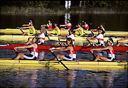 Barcelona Olympics 1992 - Lake Banyoles, SPAIN,  Heat of the W4_Photo: Peter Spurrier