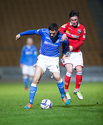 St Johnstone's Gary Miller and Ross County's Joe CArdle.<br /> St Johnstone 2 v 1 Ross County, Scottish Premiership 22/11/2014 at St Johnstone's home ground, McDiarmid Park.