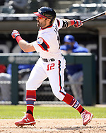 CHICAGO - APRIL 25:  Adam Eaton #12 of the Chicago White Sox hits a triple against the Texas Rangers on April 25, 2021 at Guaranteed Rate Field in Chicago, Illinois.  (Photo by Ron Vesely) Subject:  Adam Eaton