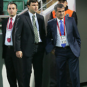 Bursaspor's coach Ertugrul SAGLAM (2ndL) and Trabzonspor's coach Senol GUNES (R) during their Turkish soccer superleague match Bursaspor between Trabzonspor at Ataturk Stadium in Bursa Turkey on Saturday, 22 October 2011. Photo by TURKPIX