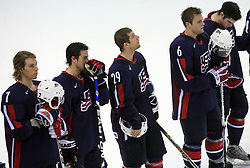 Sad U.S. Team after play-off round quarterfinals ice-hockey game USA  vs Finland at IIHF WC 2008 in Halifax,  on May 14, 2008 in Metro Center, Halifax, Nova Scotia,Canada. Win of Finland 3 : 2. (Photo by Vid Ponikvar / Sportal Images)