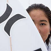 Chiasa Maruyama, 17, of Huntington Beach, California poses for a portrait on the shoreline on Thursday, April 26, 2018 at Huntington Beach. (Lexi Browning/Sports Shooter Academy)