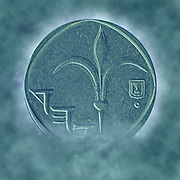 Digitally enhanced image pf a One New Israeli Shekel coin (ILS or NIS)