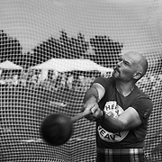 Highland Games, 3rd of August 2019, Newtonmore, Scotland, United Kingdom. A strong man compete in the hammer throw competition. the The Highland Games is a traditional annual event where competitors compete as strong men, runners, dancers, pipers and at tug-of-war. The games go back centuries and are happening through-out the summer across Scotland. The games are both an important event locally and a global tourist attraction.