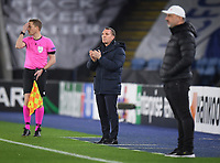 Football - 2020 / 2021 Europa League - Round of 32 - Second Leg - Leicester City vs Slavia Prague - King Power Stadium<br /> <br /> Leicester City manager Brendan Rodgers shouts instructions to his team from the technical area.<br /> <br /> COLORSPORT/ASHLEY WESTERN