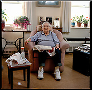 DECEMBER 13th, 2017. Brooklyn, NY. Ruth Willig, at senior building in Sheepshead Bay. She is very concerned about being independent, a loyal NYTimes reader and passionate about her flowers. Year-end update on the people from the 2015 Oldest Old series. (photo Edu Bayer)