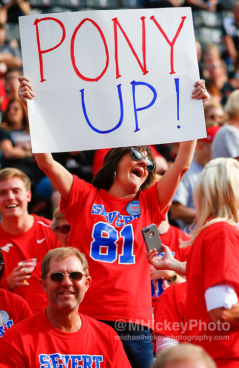 CINCINNATI, OH - OCTOBER 21: A Southern Methodist Mustangs fan is seen during the game against the Cincinnati Bearcats at Nippert Stadium on October 21, 2017 in Cincinnati, Ohio. (Photo by Michael Hickey/Getty Images)