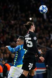 PSG's Adrien Rabiot battling Napoli's Jose Callejon during the Group stage of the Champion's League, Paris-St-Germain vs Napoli in Parc des Princes, Paris, France, on October 24th, 2018. PSG and Napoli drew 2-2. Photo by Henri Szwarc/ABACAPRESS.COM