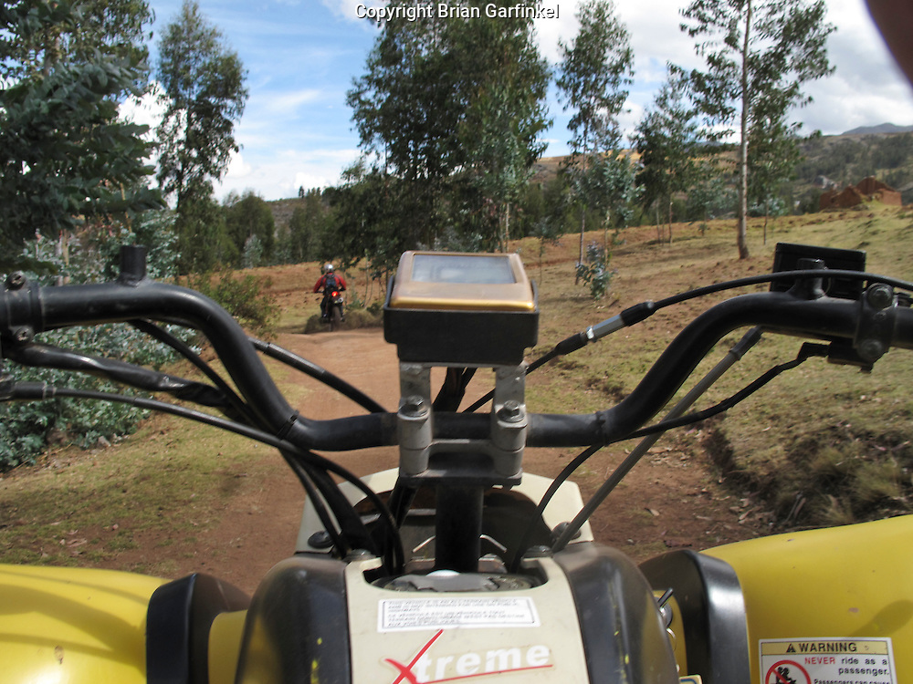 A view from an ATV in the hills surrounding Cusco Peru
