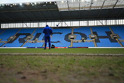 6 January 2018 -  The FA Cup - 3rd Round - Coventry City v Stoke City - Xherdan Shaqiri of Stoke City inspects the heavily worn pitch at the Richoh Arena before kick off - Photo: Marc Atkins/Offside