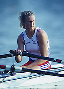 Banyoles, SPAIN, GBR W2X Bow, Annabel EYRES, competing in the 1992 Olympic Regatta, Lake Banyoles, Barcelona, SPAIN. 92 Gold Medalist.   [Mandatory Credit: Peter Spurrier: Intersport Images]