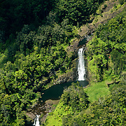 Aerial view of unchartered waterfalls on the Big Island, Hawaii.
