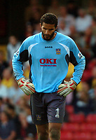 Photo: Tony Oudot.<br />Watford v Portsmouth. The Barclays Premiership. 09/04/2007.<br />David James of Portsmouth looks dejected after having conceded four goals