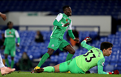 Gor Mahia's Francis Mustafa shoots wide during the SportPesa Trophy match at Goodison Park, Liverpool.