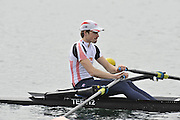 Eton, United Kingdom  GBR LM1X. Chris BODDY, at the start of his time trial men's lightweight single sculls at the 2012 GB Rowing Senior Trials, Dorney Lake. Nr Windsor, Berks.  Saturday  10/03/2012  [Mandatory Credit; Peter Spurrier/Intersport-images]
