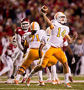 Nov 12, 2011; Fayetteville, AR, USA; Tennessee Volunteers quarterback Justin Worley (14) makes a pass during the second half of a game against the Arkansas Razorbacks at Donald W. Reynolds Razorback Stadium. Arkansas defeated Tennessee 49-7. Mandatory Credit: Beth Hall-US PRESSWIRE