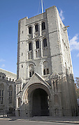 The Norman Tower of St James, Bury St Edmunds, Suffolk, England. The Norman Tower was built in the 12th century. It was also the bell tower of St James church which is now Saint Edmundsbury cathedral.