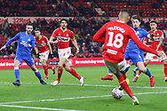 Middlesbrough forward Ashley Fletcher (18) lays the ball across the box to Middlesbrough defender George Friend (3) who goes on to score Middlesbrough's second goal during The FA Cup 3rd round match between Middlesbrough and Peterborough United at the Riverside Stadium, Middlesbrough, England on 5 January 2019.