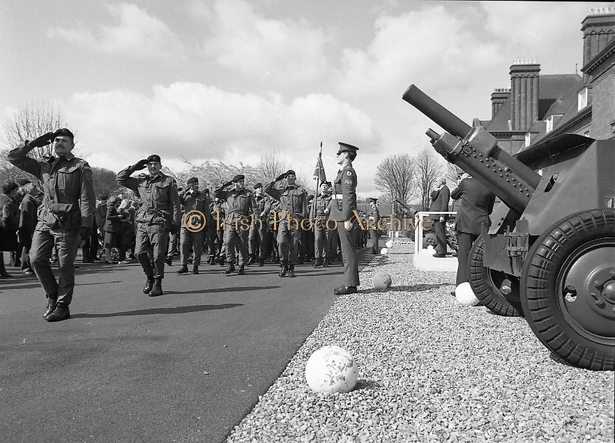 1983-04-12.12th April 1983.12-04-1983.04-12-83..Photographed at McKee Barracks, Cork..Taking the Salute..Defence Minister Paddy Cooney TD on the review stand takes the salute from passing troops of the 53rd Infantry Battalion
