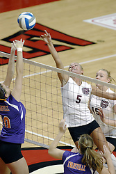24 November 2006: Danielle Diehl and Katelyn Panzau battle at the net during a Quarterfinal match between the Evansville University Purple Aces and the Missouri State University Bears.The Tournament was held at Redbird Arena on the campus of Illinois State University in Normal Illinois.<br />