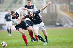 Falkirk's David McCracken and Dundee's Craig Beattie.<br /> half time : Dundee 0 v 1 Falkirk, Scottish Championship game played today at Dundee's Dens Park.<br /> © Michael Schofield.