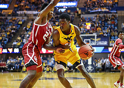 Feb 2, 2019; Morgantown, WV, USA; West Virginia Mountaineers forward Wesley Harris (21) makes a move in the lane during the second half against the Oklahoma Sooners at WVU Coliseum. Mandatory Credit: Ben Queen-USA TODAY Sports