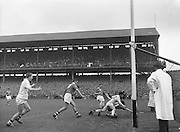 Cork go for goal but tackled by Galway during the All Ireland Minor Gaelic Football Final Cork v. Galway in Croke Park on the 26th September 1960.