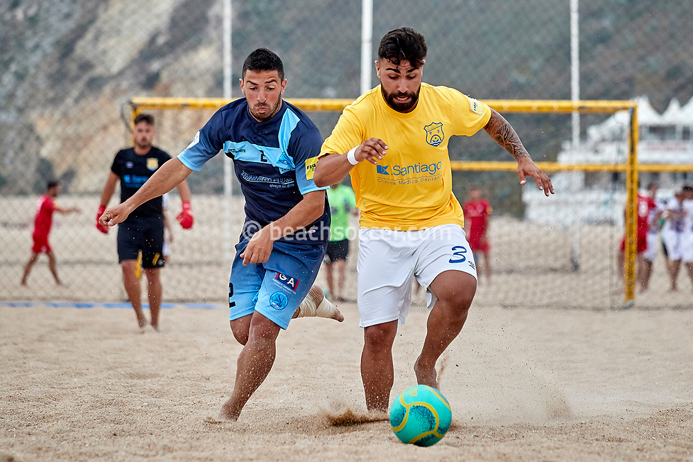 NAZARE, PORTUGAL - JUNE 2: Andreas Diamantopoulos of Napoli Patron BSC and Rui Jorge Dos Santos of AD Buarcos 2017 during the Euro Winners Challenge Nazaré 2019 at Nazaré Beach on June 2, 2019 in Nazaré, Portugal. (Photo by Jose M. Alvarez)