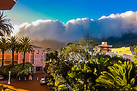 Massive clouds pushed by gale force winds move over Table Mountain, Cape Town, South Africa.