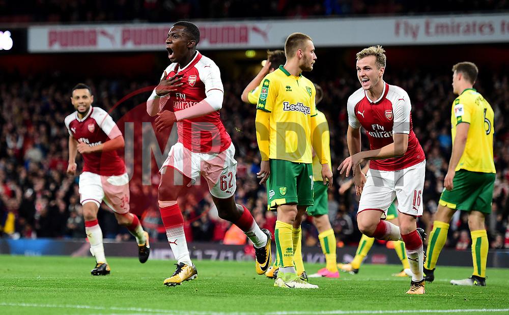 Edward Nketiah of Arsenal celebrates - Mandatory by-line: Alex James/JMP - 24/10/2017 - FOOTBALL - Emirates Stadium - London, England - Arsenal v Norwich City - Carabao Cup