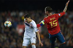March 23, 2019 - Valencia, Valencia, Spain - Tarik Elyounoussi of Norway and Sergio Ramos of Spain during the 2020 UEFA European Championships group F qualifying match between Spain and Norway at Estadi de Mestalla on March 23, 2019 in Valencia, Spain. (Credit Image: © Jose Breton/NurPhoto via ZUMA Press)