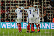 England players celebrating England striker Jamie Vardy (09) goal during the Friendly match between England and Spain at Wembley Stadium, London, England on 15 November 2016. Photo by Matthew Redman.