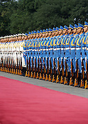 A Chinese honour guard stand at attention as they prepare to welcome Japanese Prime Minister Shinzo Abe in Beijing. A recent survey found that 93 percent of Japanese respondents held a negative view of China's growing military might.