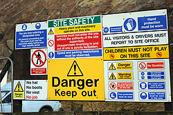 A health and safety sign with every type of danger possible