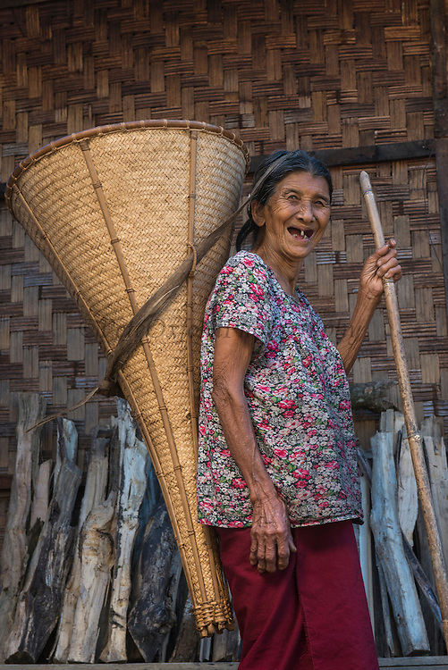 Ao Naga carrying rice basket<br /> Ao Naga headhuntingTribe<br /> Mokokchung district<br /> Nagaland,  ne India
